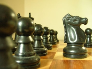 Black chess pieces, incl many pawns and one knight