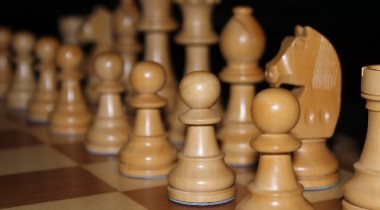 White side of a chess set